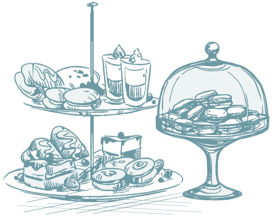 drawing of bakery pastries