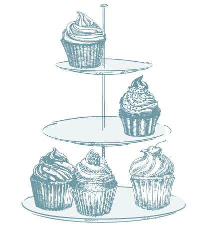 drawing of cupcake tower