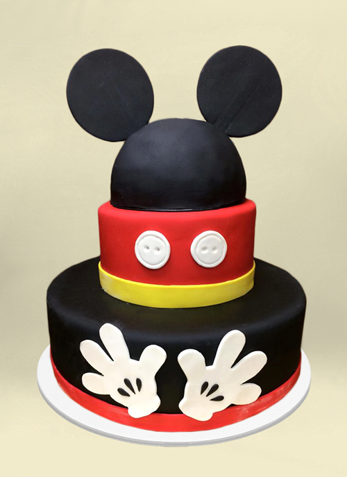 Photo: 3 tier mickey mouse cake with ears, buttons and gloves