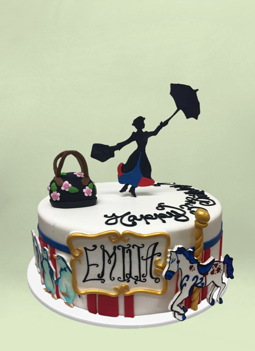 Photo: 1 tier white cake with dimensional mary poppins flying away and elements from the movie