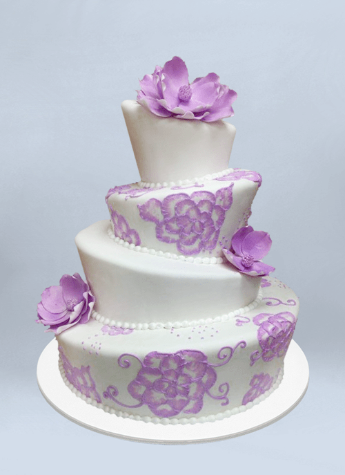 Photo: white topsy 4 tier cake with painted purple and dimensional sugar flowers