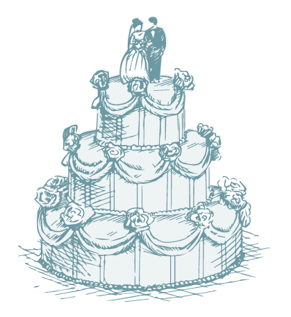 drawing of wedding cake